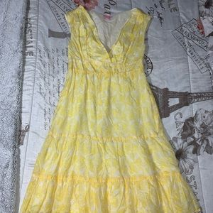 Lilly Pulitzer Yellow Floral Sleeveless Dress